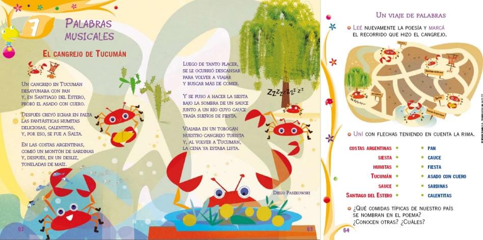 """Se publicó el poema """"El cangrejo de Tucumán"""" en el Manual Estrada para primer grado de 2009"""